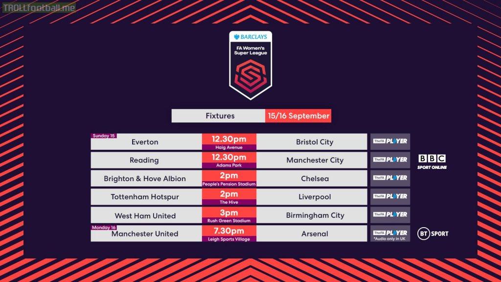 Women's Super League fixtures on 15/16 September | Troll ...