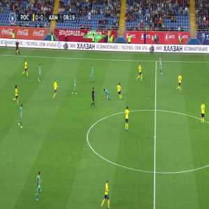 Mathias Normann of FC Rostov somersaults to avoid a careless tackle by Anton Shvets (who is red-carded)