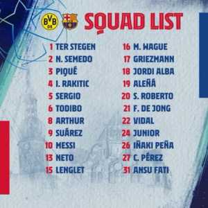 Messi is BACK. Included in the squad list against Borussia Dortmund