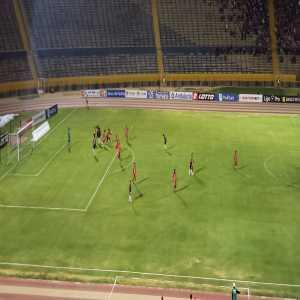 Referee in Ecuador's first division checks VAR through a television camera