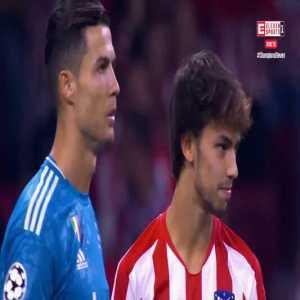 Ronaldo and João Félix having a sweet moment before match