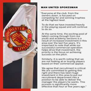 """Manchester United put out a message to fans saying that they are trying to compete for trophies """"at the highest level"""""""
