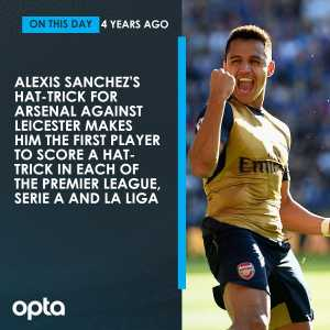 On this day in 2015, Alexis Sanchez became the first player to score a hat-trick in each of the Premier League, La Liga and Serie A in Arsenal's 5-2 win against Leicester. Scope.