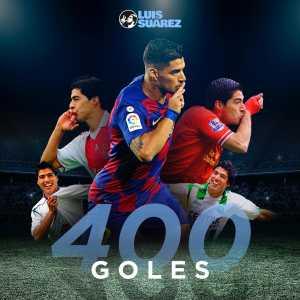 Suarez has now scored 400 goals in his club career!