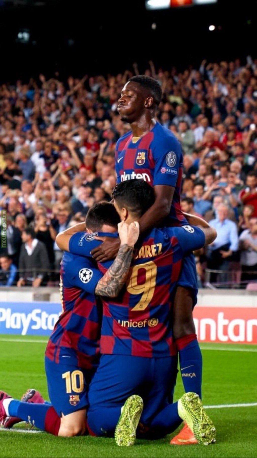 Messi, Suárez and Dembélé celebrating the winning goal.