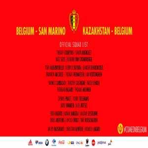 Belgium squad for Kazakhstan and San Marino