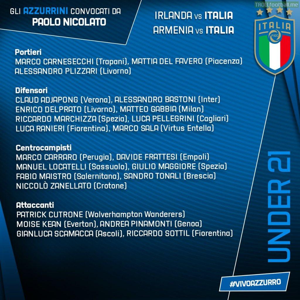 Italy U21 squad to face Ireland & Armenia