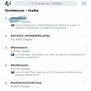 Despite not even being appointed yet #PioliOut is number 1 on trending in Italy