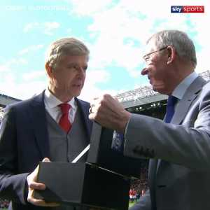 Sir Alex Ferguson congratulates Arsene Wenger as the former Arsenal manager was recognized at the Nordoff Robbins Legends of Football charity night.
