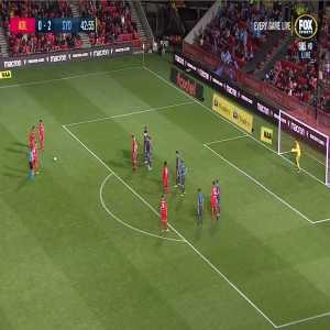 Adelaide Uniteds Nikola Mileusnic scores from a brilliant free kick