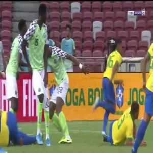 Nigerian player pantsed during the Brazil - Nigeria clash