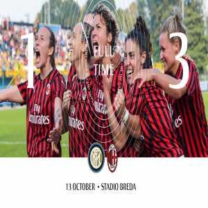 Serie A Women: Inter 1-3 AC Milan (Marinelli 57' / Čonč 35', 57'; Salvatori Rinaldi 87'). The Rossonere win the first ever Derby della Madonnina in the history of Serie A Women