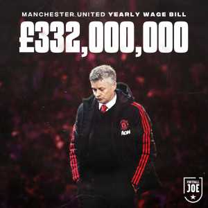Manchester United currently have the highest annual wage bill in Premier League history, £332,000,000.