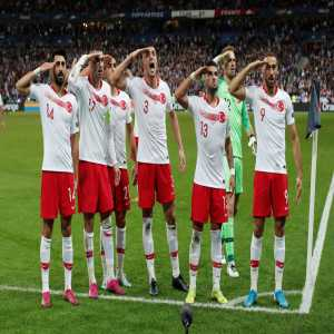 Turkish national team doubles down, with a tv censored salute following the draw against France.