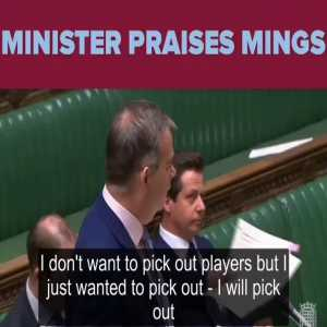 Nigel Adams (Minister of State for Sport, Media & Creative Industries) praising Tyrone Mings in Parliament