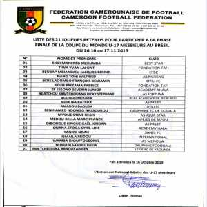 Due to a Presidential decree, all six foreign based players in Cameroon's U17 World Cup squad have been excluded. This includes Étienne Eto'o (son of Samuel) who plays for Mallorca.