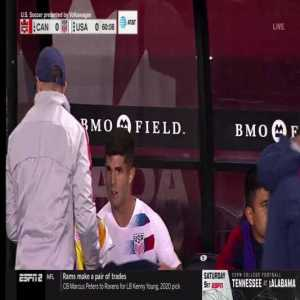 Pulisic very emotional and tearing up after getting substituted in the 60th minute against Canada