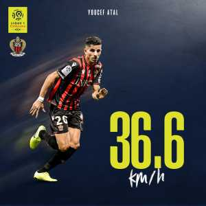 Youcef Atal is Ligue 1's fastest player, after being clocked at 36,6 km/h (22.7 mph) for his sprint against AS Monaco.