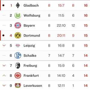 Current German Bundesliga table (Top 9)