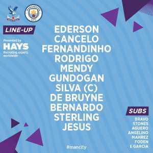 Man City start with no recognised centrebacks, back three of Fernandinho, Mendy and Cancelo