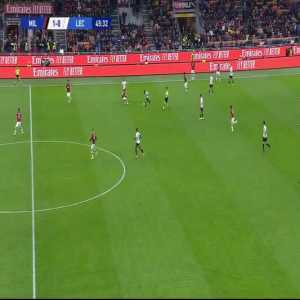 Lecce trying to counter-attack after AC Milan fails to send the ball out of play