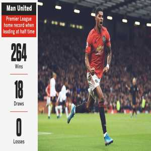 Man United have never lost a Premier League match at Old Trafford when leading at half time