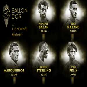 Next 5 nominees: Mohamed Salah, Eden Hazard, Marquinhos. Raheem Sterling, João Félix