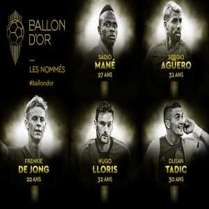 Tadic, Frenkie de jong, Sadio mane, Sergio aguero, Hugo lloris nominated for ballon d'or 2019