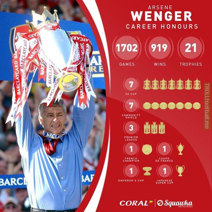 Arsene Wenger career stats as he turns 70yo today - Squawka