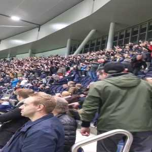 Red Star fans in the home end at Spurs despite ban.