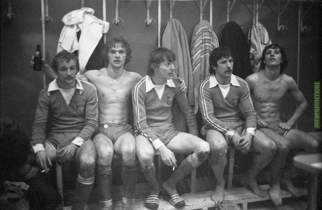 Widzew Łódź's archival dressing room photo (including present president of Polish FA - Zibi Boniek) after beating Juventus 3:1 on this day 39 years ago.