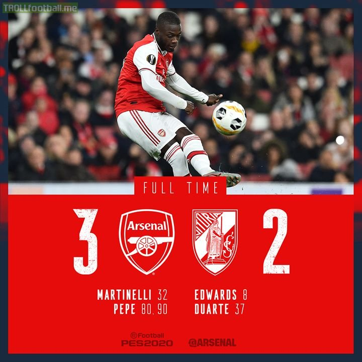 Late Pepe double seals victory for Arsenal in the UEL