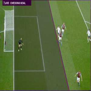 Liverpool's Roberto Firmino was flagged offside before putting the ball in the net against Aston Villa and the decision was confirmed by VAR The red line signifies Firmino and was aligned to his armpit, which was marginally ahead of the last Villa defender