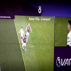 Martin Atkinson drawing a line from Firmino to the floor twice, which would make him onside on both occasions, on the third time he then draws the line for offside before drawing a line up to firmino's arm