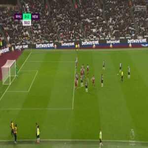 West Ham United 0-[3] Newcastle United : Jonjo Shelvey free-kick 51'