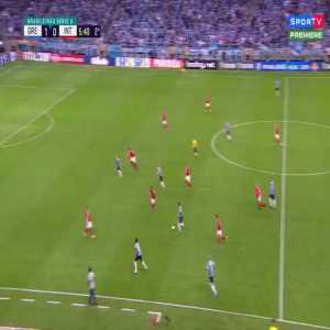 Marcelo Lomba (Internacional GK) straight red card for ridiculously tackling Luciano (Grêmio) while collecting the ball