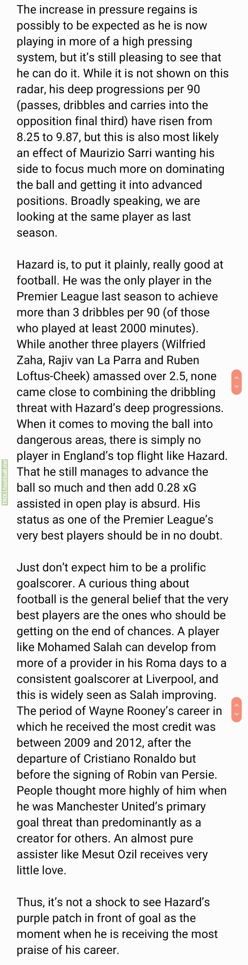 Excerpt from a StatsBomb piece at this time last year explaining what Hazard brought to the table at Chelsea [full link in comments]