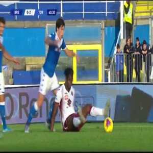 Brescia 0 - [2] Torino Belotti 26' Penalty + Mateju Red Card