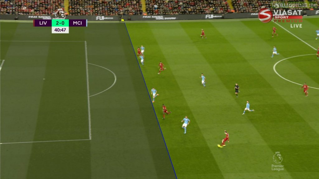 VAR for the second goal. Salah is onside, stones is playing him on