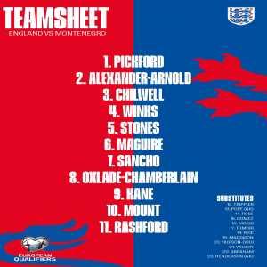 England line up vs Montenegro