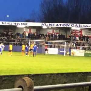 Goalkeeper Breeden took a pen for Nuneaton today and misssed, destroying a floodlight in the process.