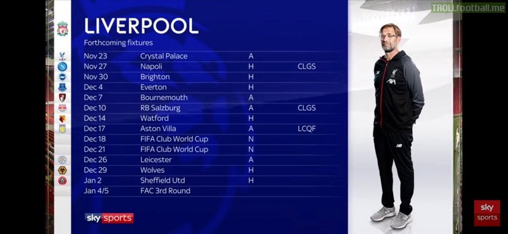 Upcoming Liverpool Fixtures Congested Troll Football