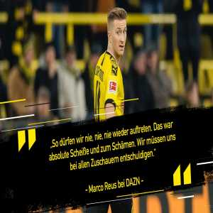 "Marco Reus after the 3-3 draw against Paderborn: ""Never ever again can we present ourselves like that. This display was shit and shameful. We have to say sorry to the fans."""