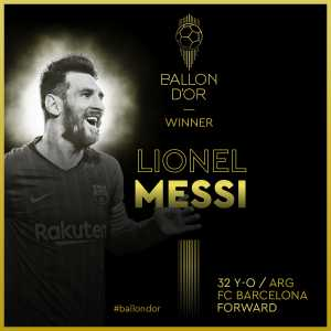 Lionel Messi is the 2019 Ballon d'Or winner!