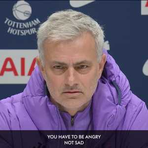 Mourinho wants his players to be raging after defeat not sad.