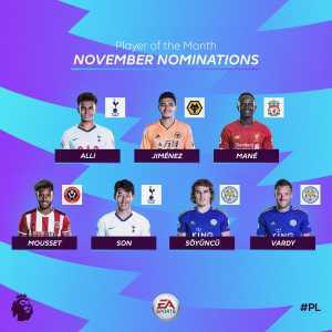 Premier League Player of the Month nominees: Alli, Jimenez, Mane, Mousset, Son, Soyuncu, Vardy.