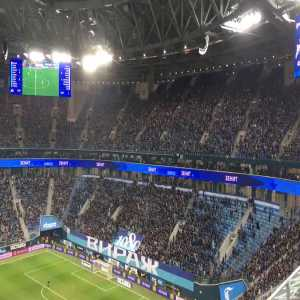 Right on cue in the 41st minute, the Zenit ultras empty out of the stadium in protest of police violence against football fans