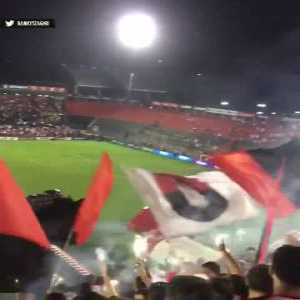 Fans of Newell's Old Boys have fun with a little pyro