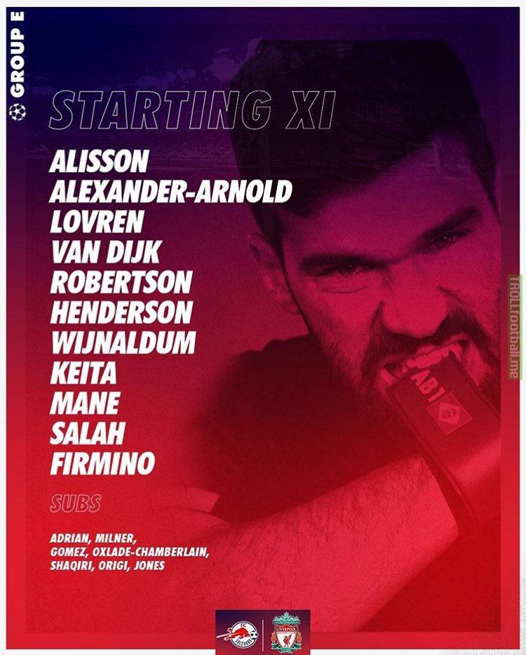 Liverpool Starting XI against Salzburg