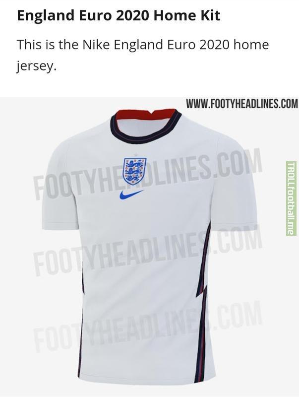 Apparent England Euro 2020 shirt leaked